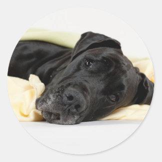 Great Dane - black / Deutsche Dogge - schwarz Runder Aufkleber
