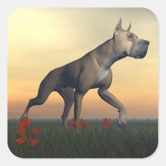 Great dane-Hund Quadratischer Aufkleber