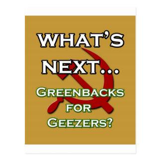 Greebacks für Geezers Postkarte
