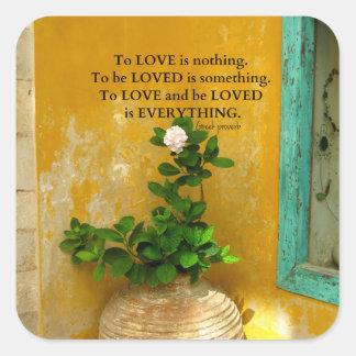 greekproverbInspirational Liebezitat Quadratischer Aufkleber