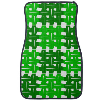 Green and white grid pattern auto fussmatte