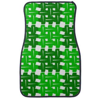 Green and white grid pattern autofußmatte