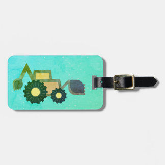 Green backhoe, cute, minimalist, flat design gepäckanhänger