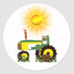 Green Tractor with Fishing Pole Sticker
