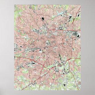 Greensboro-North Carolina Map (1997) Poster