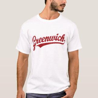 Greenwich-Skriptlogo im Rot beunruhigt T-Shirt
