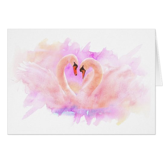 Greeting Card Swans in Love Karte
