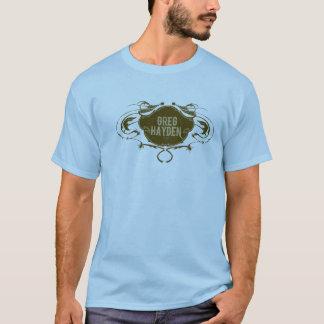 GregHaydenLogoBrown auf Blau T-Shirt