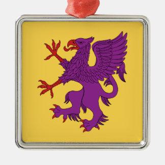 Greif zügelloses Purpure Silbernes Ornament