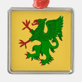 Greif zügelloses Vert Silbernes Ornament