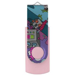 Greller Antrieb Roboter USBs 3,0 16-GB-rosa Swivel USB Stick 3.0