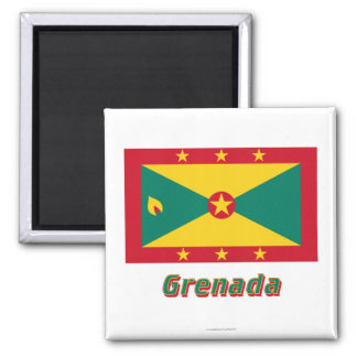 Grenada-Flagge mit Namen Quadratischer Magnet