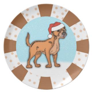 GrenzTerrier-Hundeweihnachtsplatte Teller