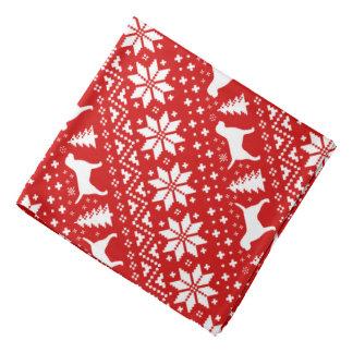 Grenzterrier-Silhouette-Weihnachtsmuster-Rot Kopftuch
