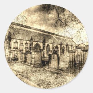 Greyfriars Kirk Kirche Edinburgh Vintag Runder Aufkleber