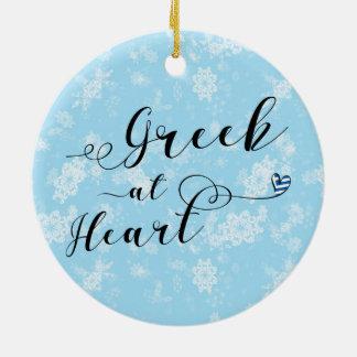 Grieche an der Herz-Feiertags-Dekoration, Keramik Ornament