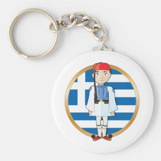 Grieche Evzone mit Flagge Standard Runder Schlüsselanhänger