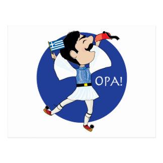 Grieche Evzone Tanzen mit Flagge OPA! Postkarte