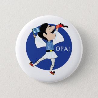 Grieche Evzone Tanzen mit Flagge OPA! Runder Button 5,7 Cm