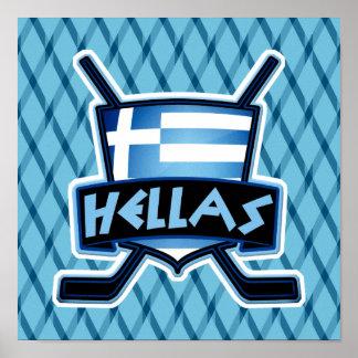 Griechenland-Eis-Hockey-Flaggen-Logo-Plakat-Druck Poster