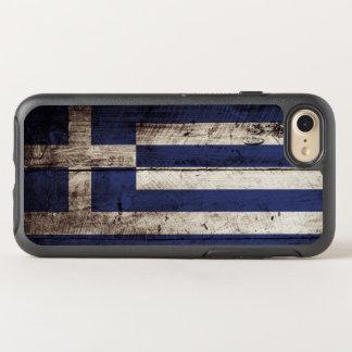 Griechenland-Flagge auf altem hölzernem Korn OtterBox Symmetry iPhone 8/7 Hülle