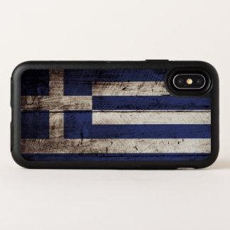 Griechenland-Flagge auf altem hölzernem Korn OtterBox Symmetry iPhone X Hülle
