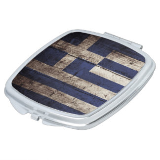 Griechenland-Flagge auf altem hölzernem Korn Taschenspiegel
