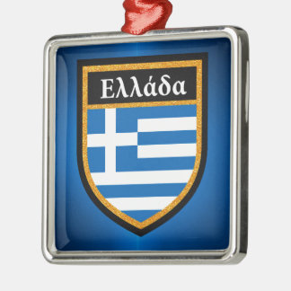 Griechenland-Flagge Silbernes Ornament