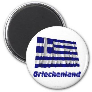 Griechenland Fliegende Flagge MIT Namen Runder Magnet 5,7 Cm