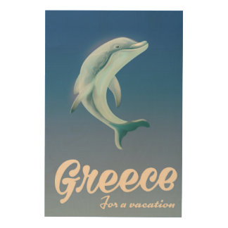 Griechenland für ein Ferien Delphin-Reiseplakat Holzwanddeko