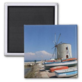 Griechenland, Korfu, alte Windmühle, Magnet Quadratischer Magnet