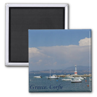 Griechenland, Korfu, alter Leuchtturm, Magnet Quadratischer Magnet
