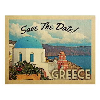 Griechenland Save the Date Vintages Santorini Postkarte