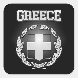 Griechenland-Wappen Quadratischer Aufkleber