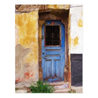 Griechische blaue Tür - Kreta Postkarten
