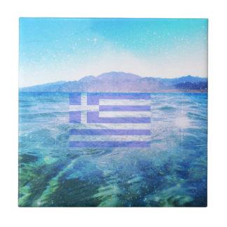 GRIECHISCHE FLAGGE KLEINE QUADRATISCHE FLIESE