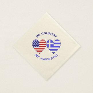 Griechische Herz-Flaggen-Land-Herkunft Papierserviette