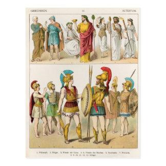 Griechische religiöse und Militär kleidet an Postkarte