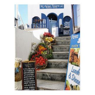 griechische Taverne auf Santorini, Griechenland Postkarte