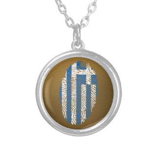 Griechische Touchfingerabdruckflagge Halskette Mit Rundem Anhänger
