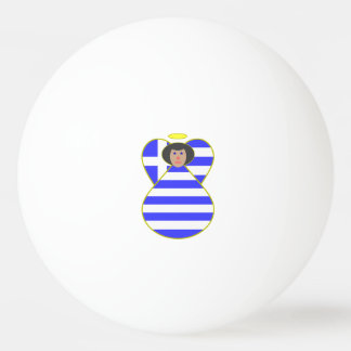 Griechischer Flaggen-Engels-schwarzes Haar Ping-Pong Ball