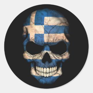 Griechischer Flaggen-Schädel auf Schwarzem Runder Aufkleber