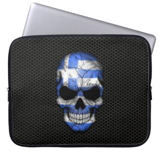 Griechischer Flaggen-Schädel auf Stahlmaschen-Graf Laptop Schutzhüllen