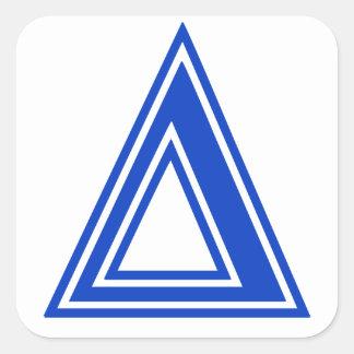Griechisches Buchstabe-Deltablaue Quadratischer Aufkleber