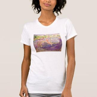 griechisches Fischerboot am Sonnenuntergang T-Shirt