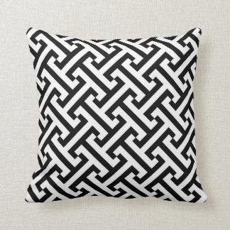 Griechisches geometrisches Muster Schwarzweiss Kissen