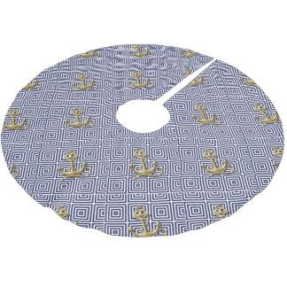 Griechisches Muster des Marine-Blaus adretter Polyester Weihnachtsbaumdecke