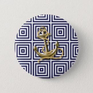 Griechisches Muster des Marine-Blaus adretter Runder Button 5,7 Cm
