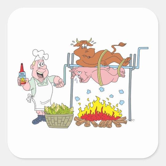 Grill Grillen barbecue BBQ Quadratischer Aufkleber