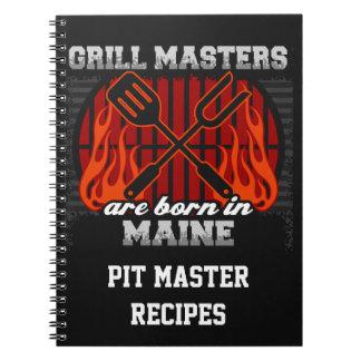 Grill-Meister sind in personalisiertem Maine Spiral Notizblock